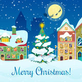 För Cityscapehälsning för glad jul kort stock illustrationer