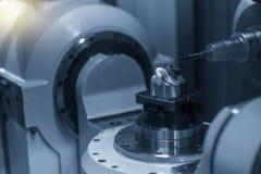 För CNC-malning för 5 axel klippa för maskin delarna för turbinbladet med det fasta bollslutet maler hjälpmedel royaltyfri fotografi