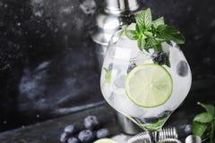 För coctailblåbär för sommar alkoholiserad mojito med rom, mintkaramell, limefrukt arkivfoton
