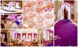 för collagedof för den beige buketten blir grund brud- cirklar för klänning att gifta sig för skor Royaltyfri Bild