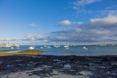 För Corralejo för vitt ljus hamn hamn Arkivbilder