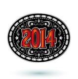 för cowboybälte för nytt år 2014 design för buckla Royaltyfri Bild