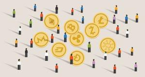 För crypto-valuta för folkmassafolkhype tillsammans bitcoin för uppsättning mynt stock illustrationer