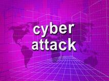 För Cyberhacka för Cyberattack ondsint illustration för attack 3d Arkivbilder