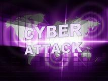 För Cyberhacka för Cyberattack ondsint illustration för attack 3d Arkivfoton