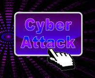 För Cyberhacka för Cyberattack ondsint illustration för attack 3d Royaltyfri Foto