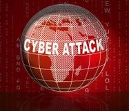 För Cyberhacka för Cyberattack ondsint illustration för attack 3d Fotografering för Bildbyråer