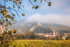 By för DÃ-¼rnstein med höstvingården i Wachau, Österrike Royaltyfria Foton