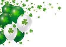 För dagbakgrund för St Patricks design av den växt av släktet Trifoliumsidor och ballongen royaltyfri illustrationer