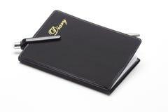 för dagbokpenna för ballpoint svart fack Arkivfoto