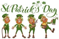 För dagbokstäver för St Patricks text Ställ in den roliga tecknad filmmannen stock illustrationer