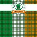 För dagemblem för St Patricks flagga för tartan irländsk Royaltyfria Foton