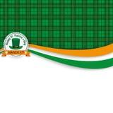 För dagemblem för St Patricks tartan för baner Arkivbild