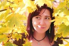 för dagfall för höst gå kvinna för härlig skog fall  arkivbilder