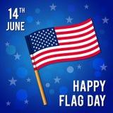 för dagfyrverkerier för bakgrund härlig celebratory text för flagga Vektorillustration för ferie 14 Juni stock illustrationer
