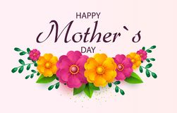 För daghälsning för moder s kort med härliga blomningblommor vektor illustrationer