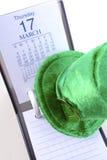 För dagkalender för St Patricks datum Fotografering för Bildbyråer
