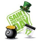 För dagkalender för St Patricks symbol Royaltyfri Bild