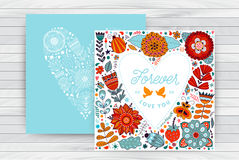 För dagmall för valentin s kort för hälsning Blommor i hjärtaform på tabellträöverkant vektor illustrationer