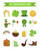 För dagsymbol för St Patricks beståndsdel för fastställd design Traditionella irländska symboler i modern plan stil bakgrund isol stock illustrationer