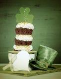 För dagtreklöver för St Patricks muffin för trippel för gräsplan - retro stil Royaltyfria Bilder
