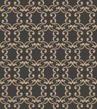 För damast sömlös retro kedja för ram för arg vinranka för kurva modellbakgrund för vektor spiral Elegant lyxig brun signaldesign royaltyfri illustrationer