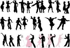 för dansare silhouettes mycket Royaltyfri Fotografi