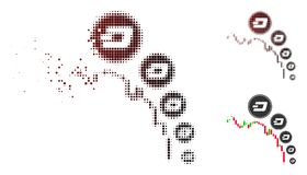 För Dashcoin för diagram för dammPixelated rastrerad ljusstake symbol deflation stock illustrationer
