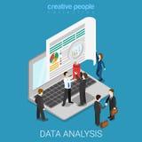För dataanalys för plan isometrisk vektor online-skärm för bärbar dator för rengöringsduk stock illustrationer