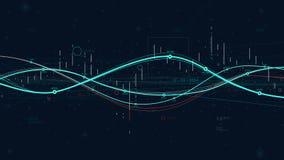 För dataanalytics för statistik stora indikatorer, digital graf för affärsstrategi som indikerar framsteg stock illustrationer