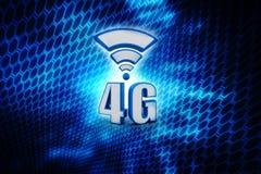 För dataanslutning för mobil telekommunikation cell- snabb affärsidé: blå metallisk trådlös kommunikationstechnol för 4G LTE Royaltyfria Bilder