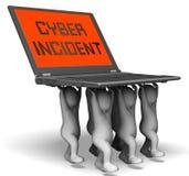För dataattack för Cyber infallande tolkning för varning 3d Royaltyfri Fotografi