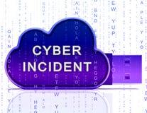 För dataattack för Cyber infallande tolkning för varning 3d royaltyfri illustrationer
