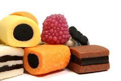 för datalistfrukt för 5 färg högen rullar olika sötsaker Royaltyfria Foton