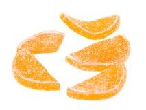 för datalistgelé för godisar vita citrusa lobules Arkivfoto