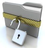 för datamapp för begrepp 3d säkerhet för lås grå Arkivbild