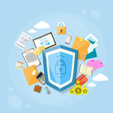 För dataskydd för sköld säker avskildhet för begrepp royaltyfri illustrationer