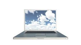 för datordata för molnet 4k lagring, bärbar datorlekvideo av tidschackningsperioden fördunklar, blå himmel arkivfilmer