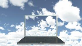 för datordata för molnet 4k lagring, bärbar datorlekvideo av tidschackningsperioden fördunklar, blå himmel lager videofilmer