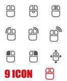 För datormus för vektor grå uppsättning för symbol Fotografering för Bildbyråer