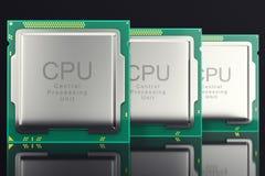 för datorPC för illustration 3d begrepp för bransch för elektronik för chip för CPU, närbildsikt Royaltyfri Foto