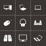 För datorsymboler för vektor svart uppsättning Arkivbilder