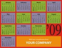 för datumtabell för kalender 2009 överkant Fotografering för Bildbyråer