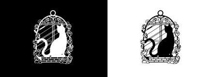 För dekorativ svart katt metallram för bokmärke, vit katt, på fönstret med rosor Arkivfoto