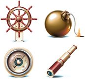 för dellopp för 3 symboler marin- vektor Arkivfoton