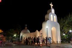 för delmexico för carmem kyrklig white yucatan playa Royaltyfria Bilder
