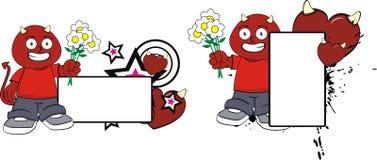 För demonunge för blommor rött för halloween för tecknad film utrymme kopia vektor illustrationer