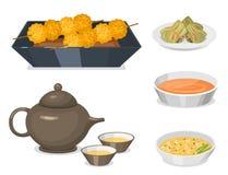 För den asia för kokkonst för den kinesiska traditionsmatmaträtten lagade mat läcker lunch för porslinet för mål matställen vekto stock illustrationer