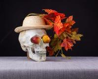 för den grymma säger miniatyrreaperen halloween för kalenderbegreppsdatumet lyckliga holdingen scythestanding Skallen som luktar  Arkivfoton