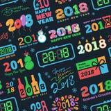 För den kalenderChristmass för nytt år 2018 färgade trycket för kalendern för ferie för text logoen illustrationen för partiet fö Arkivfoto